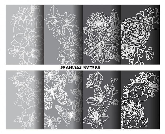 Disegno e schizzo della mano dei modelli senza cuciture del fiore della natura