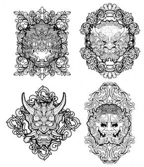 Disegno e schizzo della mano dell'insieme del gigante di arte del tatuaggio in bianco e nero