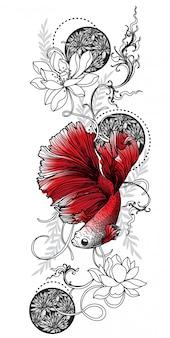 Disegno e schizzo siamesi del pesce di combattimento di arte del tatuaggio