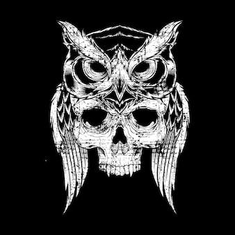 Disegno elaborato di stile del grunge del cranio della holding del gufo