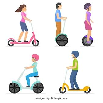 Disegno elettrico di scooter con cinque persone