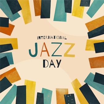 Disegno felice dell'acquerello felice giorno del jazz