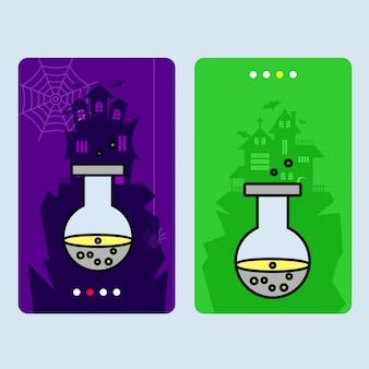 Disegno felice dell'invito di halloween con il vettore della bevanda