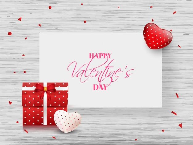 Disegno felice della bandiera di giorno di biglietti di s. valentino con i cuori e contenitori di regalo sopra