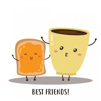 Disegno felice sveglio di vettore del pane e del caffè