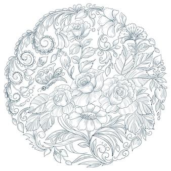 Disegno floreale circolare mandala decorativo