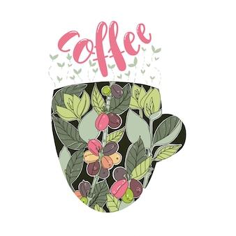 Disegno floreale colorato chicchi e foglie di caffè nella forma della tazza.