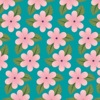 Disegno floreale con petali naturali e motivo a foglie