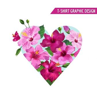 Disegno floreale dei fiori tropicali del cuore di estate