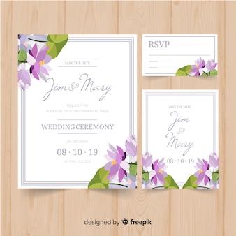 Disegno floreale del modello stazionario di nozze