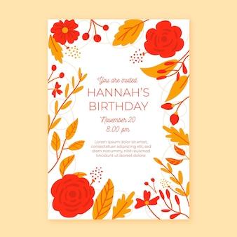 Disegno floreale dell'invito di compleanno