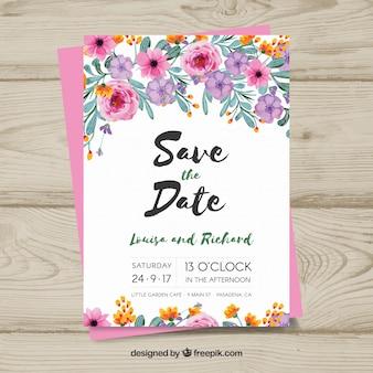 Disegno floreale della carta di nozze
