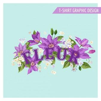 Disegno floreale di estate romantica con fiori