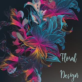 Disegno floreale multicolore