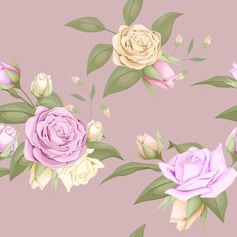 Disegno floreale senza cuciture con bellissime rose