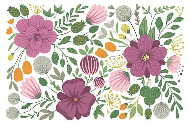 Disegno floreale vettoriale. illustrazione piatta alla moda con fiori, foglie, rami. clipart di prato, bosco, foresta.