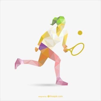 Disegno geometria di giocatore di tennis donna