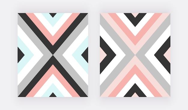 Disegno geometrico con triangolare rosa, blu e grigio.
