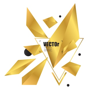 Disegno geometrico del poligono dell'oro astratto della priorità bassa.