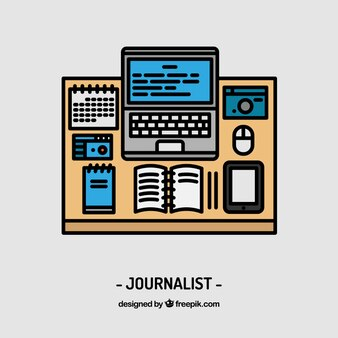 Disegno giornalista posto di lavoro