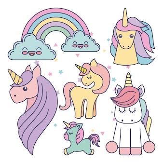 Disegno icona di unicorni carino set