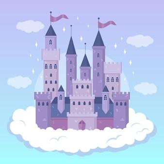 Disegno illustrato del castello da favola