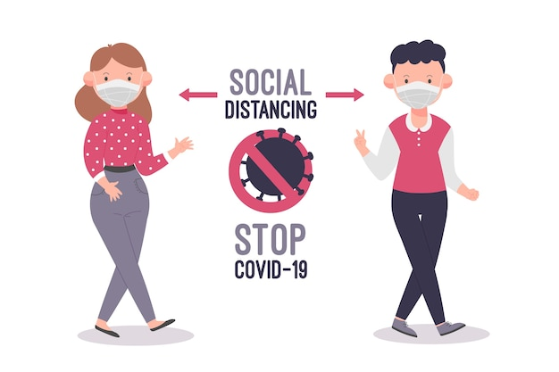 Disegno illustrato di distanza sociale