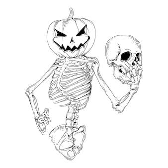 Disegno in bianco e nero illustrazione disegnata a mano scheletro zucca di halloween