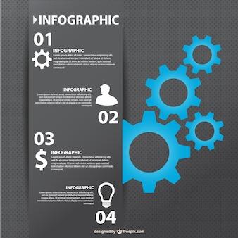 Disegno ingranaggi affari infografica