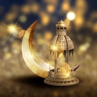 Disegno islamico del modello della cartolina d'auguri con le lanterne