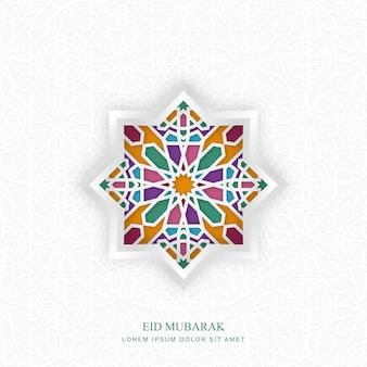 Disegno islamico di vettore di eid mubarak, modello di biglietto di auguri con motivo ornamentale