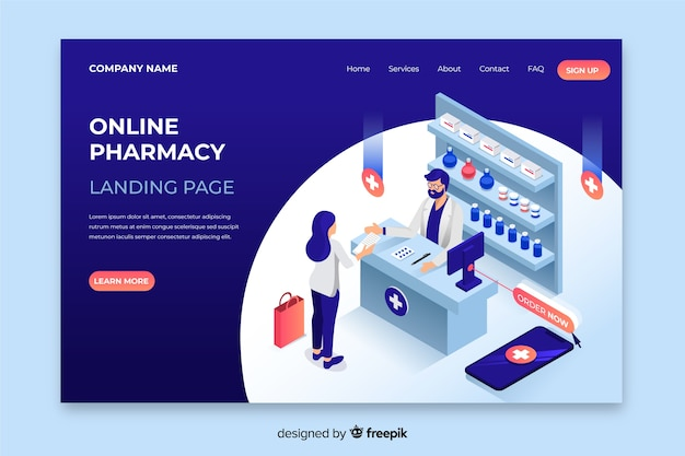 Disegno isometrico della pagina di destinazione della farmacia