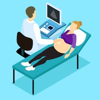 Disegno isometrico di scansione ad ultrasuoni in gravidanza