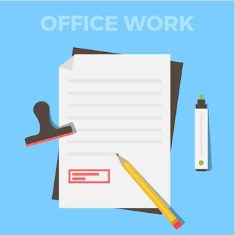 Disegno lavoro d'ufficio piatta