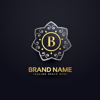 Disegno lettera b logo con l'elemento floreale