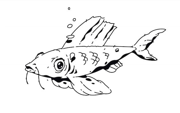 Disegno lineare di pesce tatuaggio di moda.
