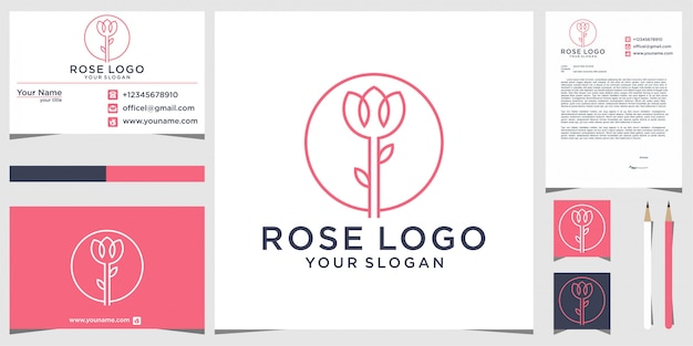 Disegno logo rosa con elementi decorativi