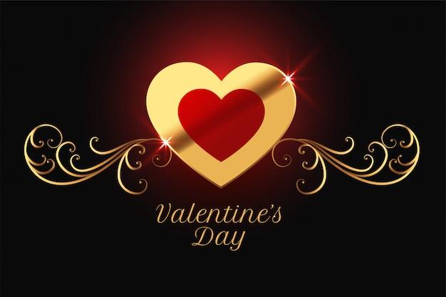 Disegno lucido dorato felice giorno di san valentino