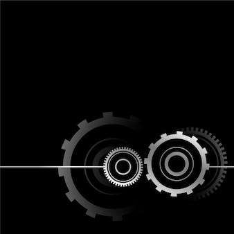 Disegno metallico di simbolo dell'ingranaggio sul nero