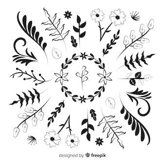 Disegno monocromatico con collezione di divisori ornamentali