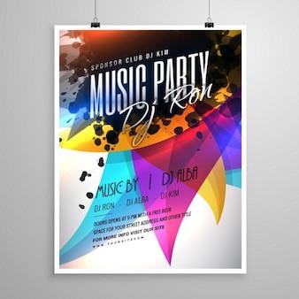 Disegno party music volantino modello con colorate forme astratte