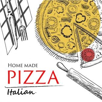 Disegno pizza sfondo