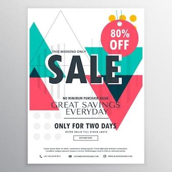Disegno promozionale manifesto vendita volantino astratto con forme geometriche colorate