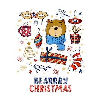 Disegno quadrato della cartolina d'auguri di natale con l'orso e testo divertente di natale di bearrry