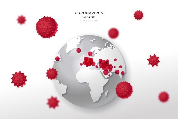 Disegno realistico del globo di coronavirus