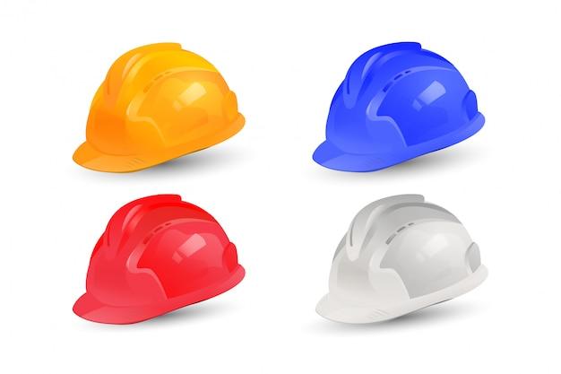 Disegno realistico di raccolta vettore casco. set di cappelli di sicurezza con multi colore.