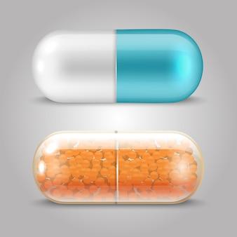 Disegno realistico di vettore delle pillole - capsule delle droghe