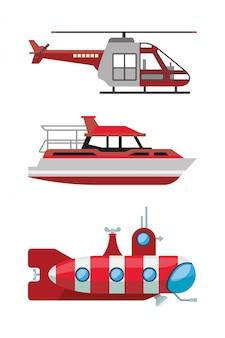 Disegno rosso della barca dell'elicottero e dei veicoli sottomarini, tema automobilistico e di guida veloce di velocità urbana del motore di viaggio di viaggio del trasporto