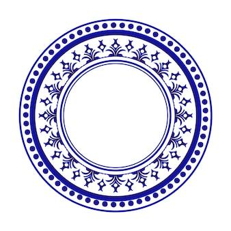 Disegno rotondo blu e bianco