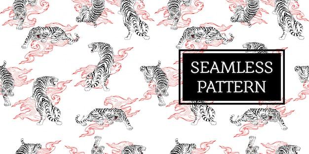 Disegno senza cuciture tigre tatuaggio stile giappone nero bianco rosso
